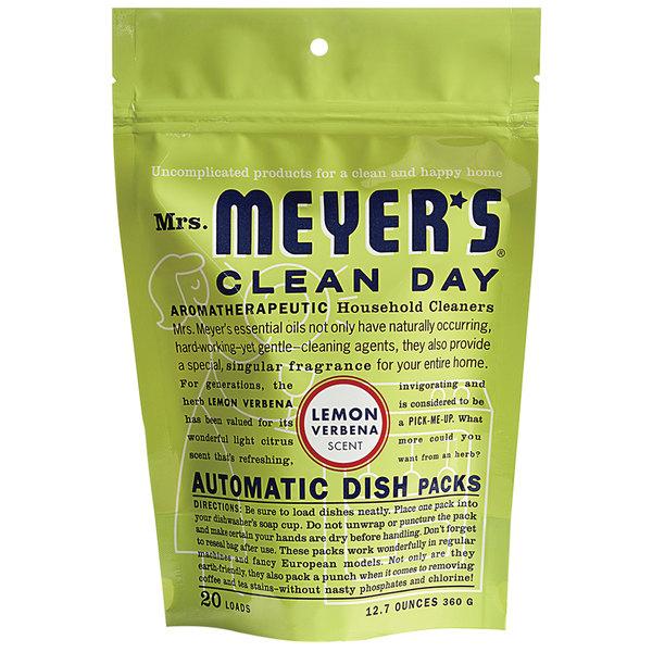 Mrs. Meyer's Clean Day 651357 20-Count Lemon Verbena Dishwasher Pac - 6/Case Main Image 1