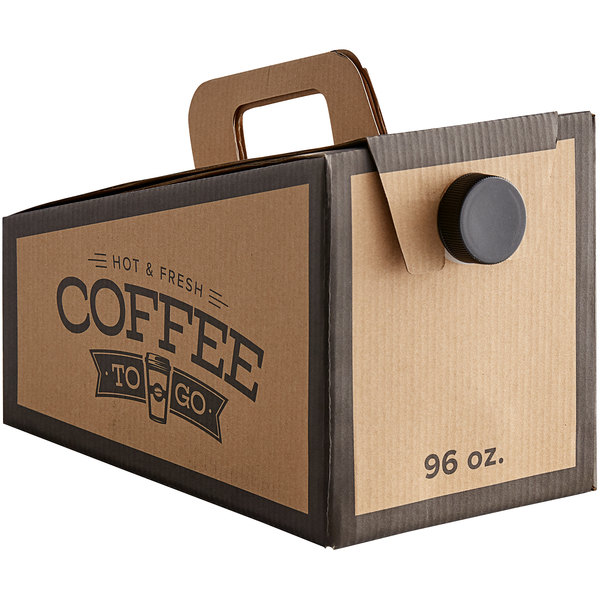 Choice 96 oz. Beverage Take Out Container with Coffee To Go Print - 25/Case
