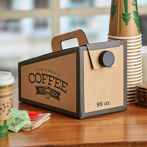Choice 96 oz. Beverage Take Out Container with Coffee To Go Print - 25/Case Main Image 3