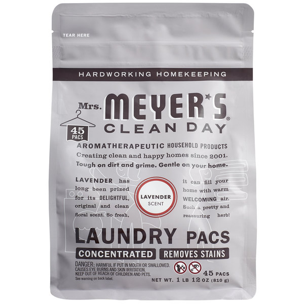 Mrs. Meyer's Clean Day 306114 Lavender 45-Count Laundry Detergent Pack - 6/Case Main Image 1