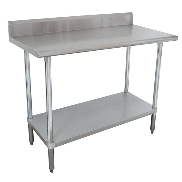 "Advance Tabco KMSLAG-303-X 36"" x 30"" 16 Gauge Stainless Steel Work Table with Undershelf and Backsplash"