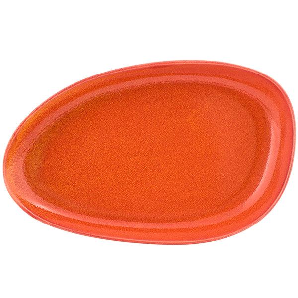 "Front of the House DDP062ORP22 Kiln 11"" x 7"" Blood Orange Oval Porcelain Plate - 6/Case"