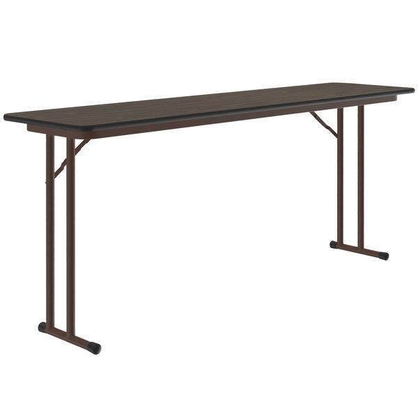 "Correll ST1896PX01 18"" x 96"" Walnut 3/4"" High-Pressure Folding Seminar Table Main Image 1"