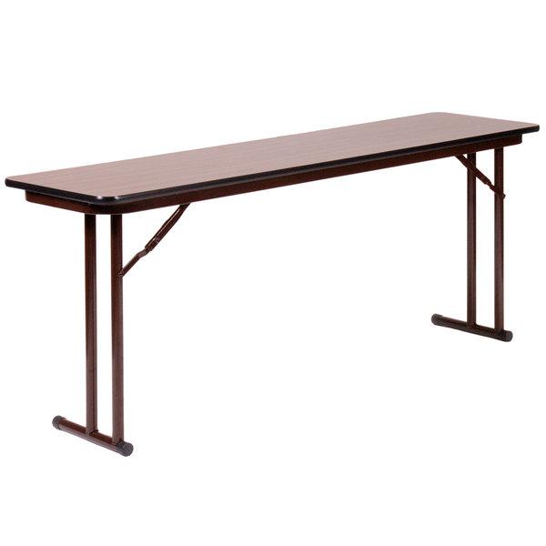 "Correll ST1896PX01 18"" x 96"" Walnut 3/4"" High-Pressure Folding Seminar Table"