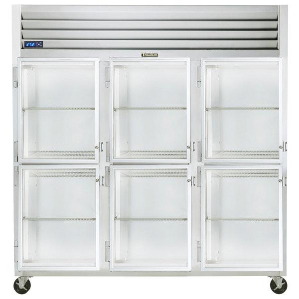 """Traulsen G32003-032 76 1/4"""" G Series Glass Half Door Reach-In Refrigerator with Left Hinged Doors Main Image 1"""