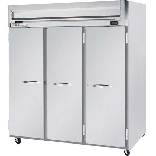 "Beverage-Air HFS3-5S Horizon Series 78"" Solid Door Reach-In Freezer with Stainless Steel Interior"
