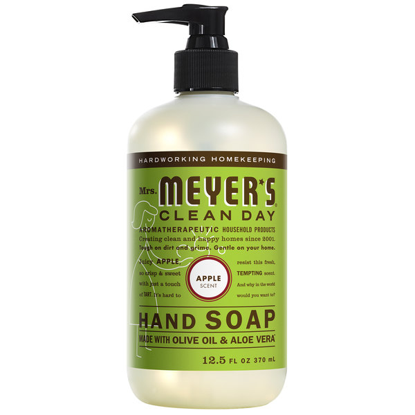 Mrs. Meyer's Clean Day 651380 12.5 oz. Apple Scented Hand Soap with Pump - 6/Case Main Image 1