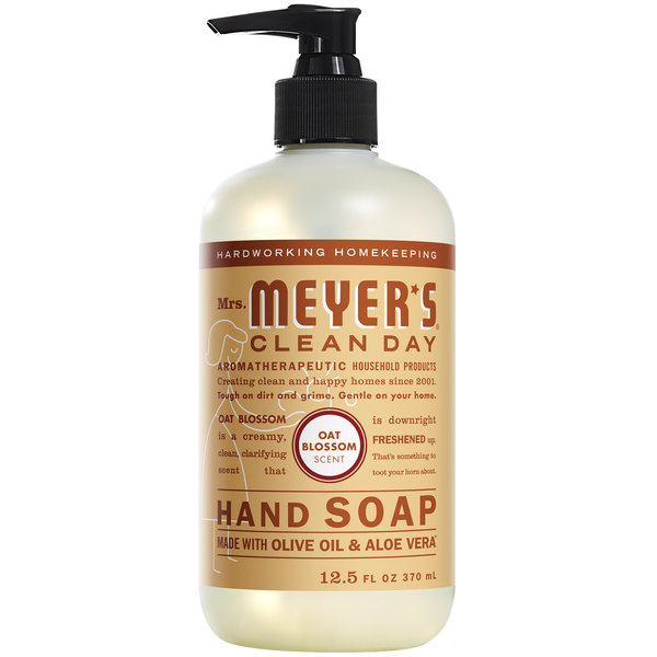 Mrs. Meyer's Clean Day 313535 12.5 oz. Oat Blossom Scented Hand Soap with Pump - 6/Case Main Image 1