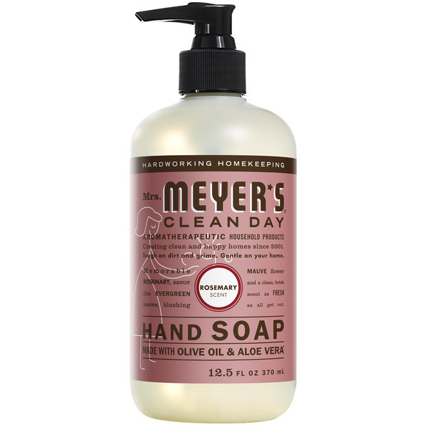 Mrs. Meyer's Clean Day 662033 12.5 oz. Rosemary Scented Hand Soap with Pump - 6/Case Main Image 1