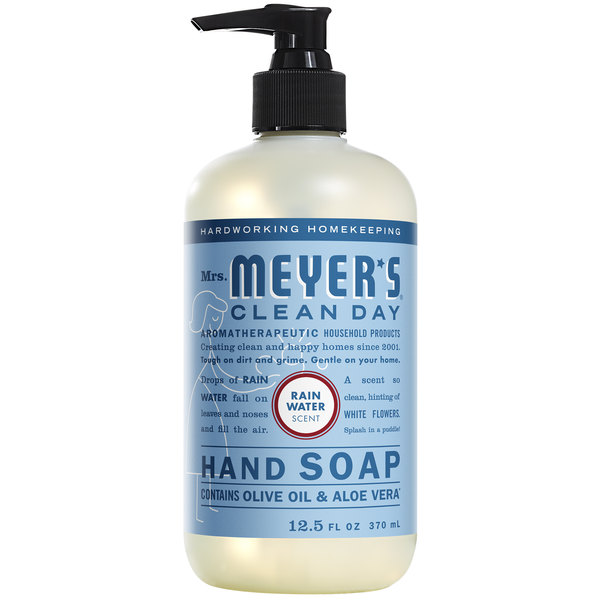 Mrs. Meyer's Clean Day 308451 12.5 oz. Rainwater Scented Hand Soap with Pump - 6/Case Main Image 1