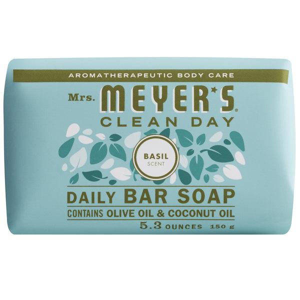 Mrs. Meyer's Clean Day 663376 5.3 oz. Basil Soap Bar - 12/Case Main Image 1