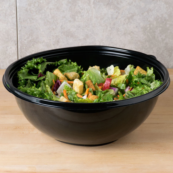 Sabert 92320 FreshPack 320 oz. Black Round Bowl - 25/Case Main Image 4
