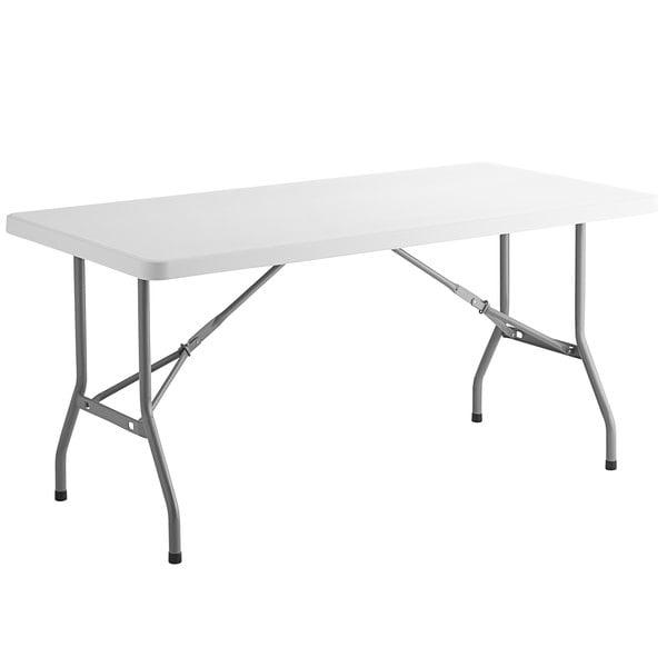"Choice 30"" x 60"" White Plastic Folding Table Main Image 1"