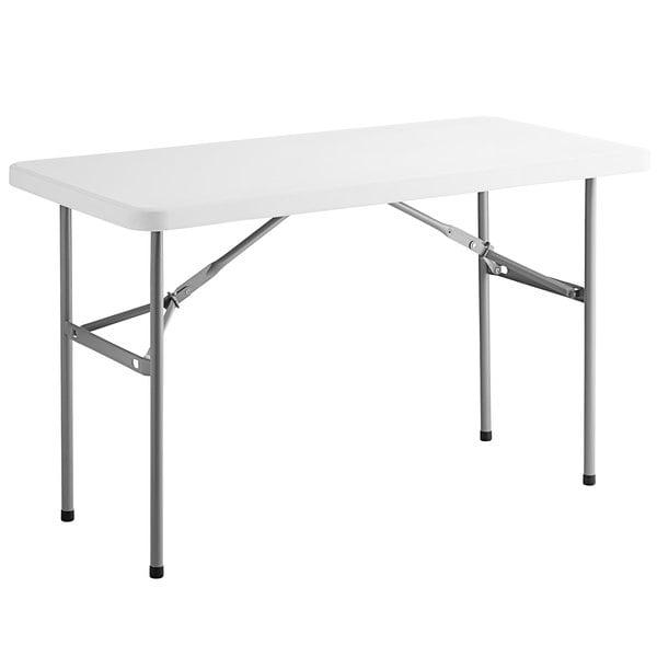 "Choice 24"" x 48"" White Plastic Folding Table Main Image 1"