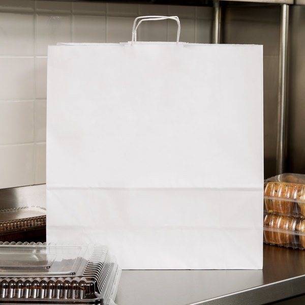 "Jumbo 18"" x 7"" x 19"" White Paper Shopping Bag with Handles - 200/Bundle Main Image 3"