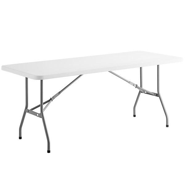 "Choice 30"" x 72"" White Plastic Folding Table Main Image 1"