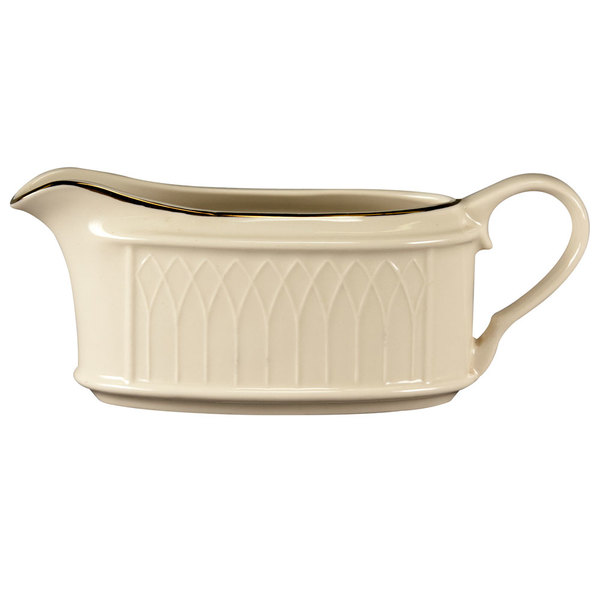 Homer Laughlin 1420-0319 Westminster Gothic Ivory (American White) 11.75 oz. Sauce Boat - 12/Case