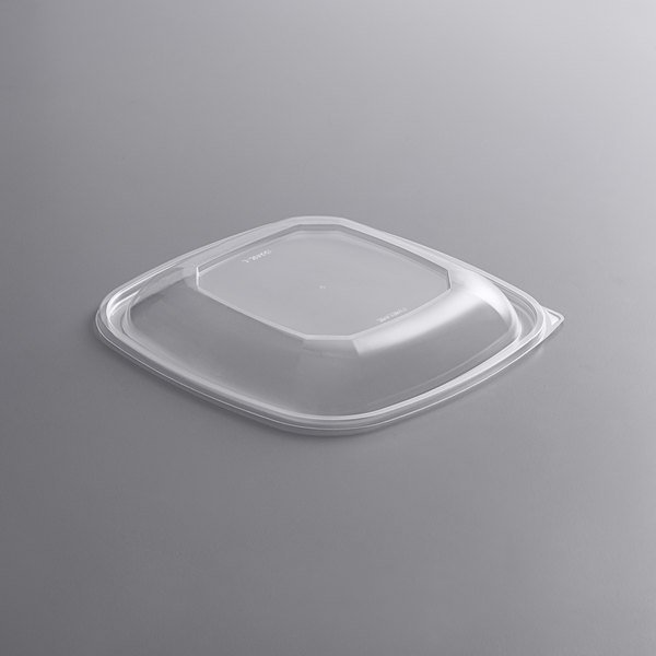 Fineline 15816L-L Super Bowl Plus Clear Dome PET Plastic Lid for 80 and 160 oz. Extra Large Square Bowls - 50/Case