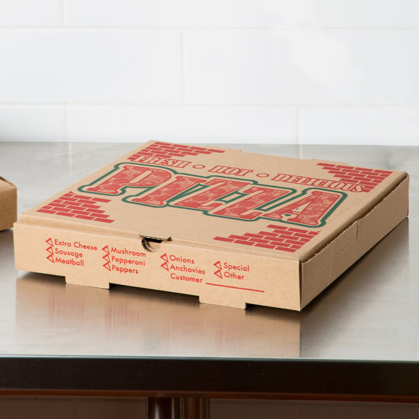 "14"" x 14"" x 1 3/4"" Kraft Corrugated Pizza Box - 50/Case"