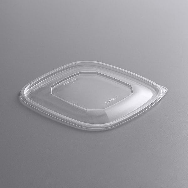 Fineline 15234M-FL Super Bowl Plus Clear Flat PET Plastic Lid for 24, 32, and 48 oz. Medium Square Bowls - 300/Case