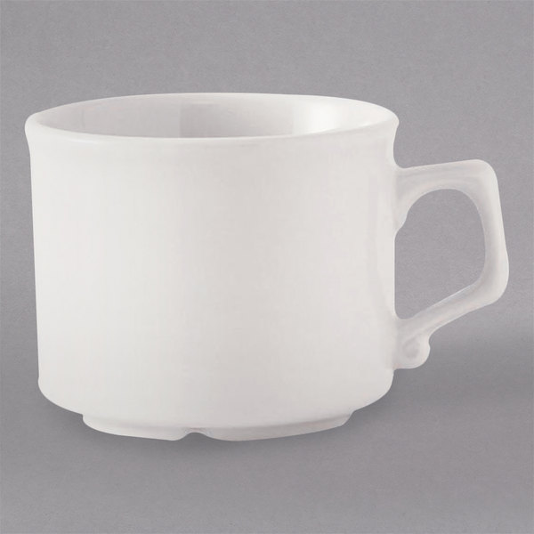Tuxton HP1-04A TuxCare Healthcare 8.25 oz. Ivory (American White) China Tea Cup with Large Handle - 36/Case