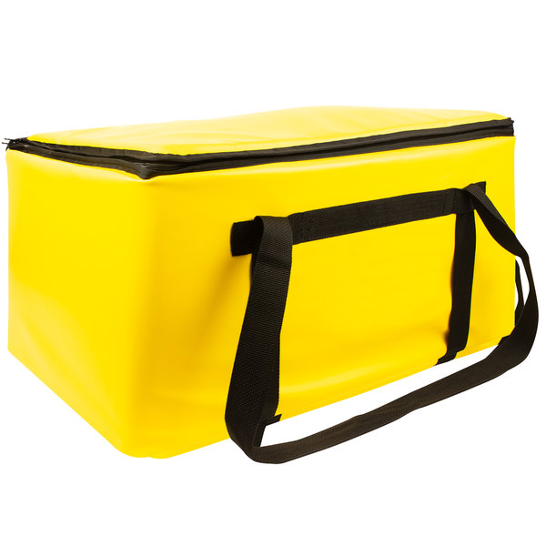 "Sterno Yellow Customizable Space Saver Catering Large Insulated Food Carrier, 16"" x 24"" x 14"" - Holds 3 Full Size or 6 Half Size Food Pans Main Image 1"