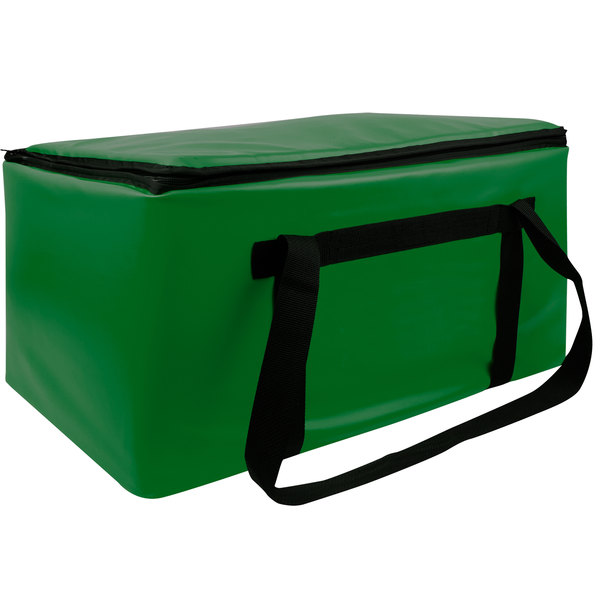 """Sterno Kelly Green Customizable Space Saver Catering Large Insulated Food Carrier, 16"""" x 24"""" x 14"""" - Holds 3 Full Size or 6 Half Size Food Pans Main Image 1"""