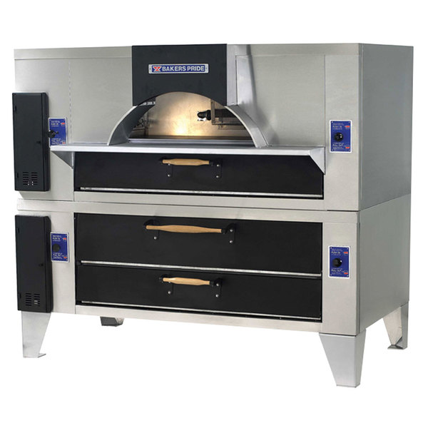 "Bakers Pride FC-816/Y-800BL Brick Lined IL Forno Classico Natural Gas Double Deck Oven - 66"""
