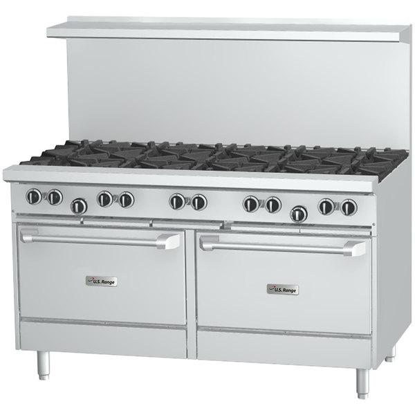 """U.S. Range U60-10RR Natural Gas 10 Burner 60"""" Range with 2 Standard Ovens - 396,000 BTU Main Image 1"""