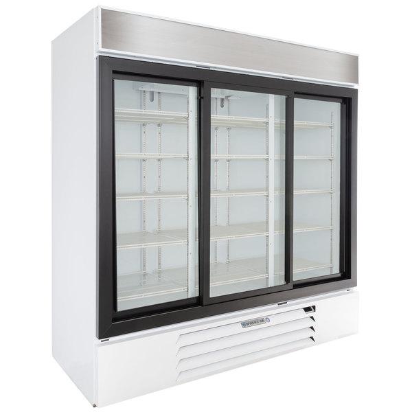"""Beverage-Air MMR66HC-1-WS MarketMax 75"""" White Glass Sliding Door Merchandiser Refrigerator with Stainless Steel Interior Main Image 1"""