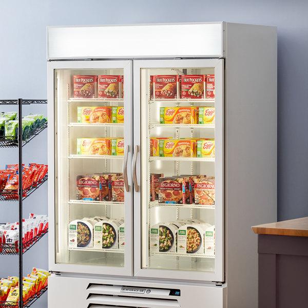 """Beverage-Air MMF49HC-1-WB MarketMax 52"""" White Glass Door Merchandising Freezer with Black Interior"""