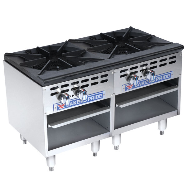 Bakers Pride Restaurant Series BPSP-36-2-D Natural Gas Two Burner Side-by-Side Stock Pot Range