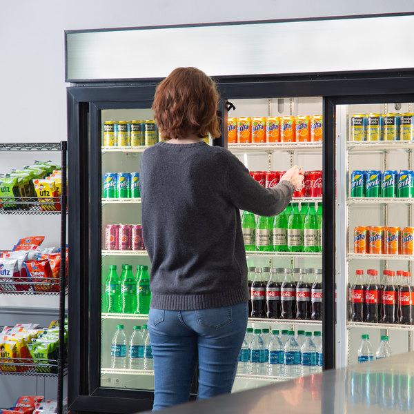 "Beverage-Air MMR66HC-1-BS MarketMax 75"" Black Glass Sliding Door Merchandiser Refrigerator with Stainless Steel Interior Main Image 6"