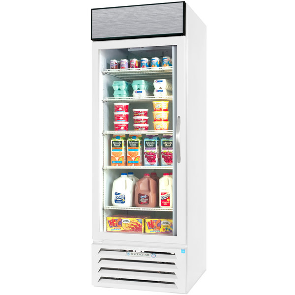 "Beverage-Air MMR27HC-1-WS-18 MarketMax 30"" White Glass Door Merchandiser Refrigerator with Left-Hinged Door with Stainless Steel Interior"