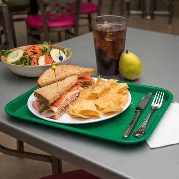 "Carlisle CT101409 Cafe 10"" x 14"" Green Standard Plastic Fast Food Tray"
