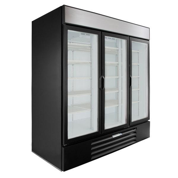 """Beverage-Air MMR72HC-1-BS MarketMax 75"""" Black Glass Door Merchandiser Refrigerator with Stainless Steel Interior Main Image 1"""
