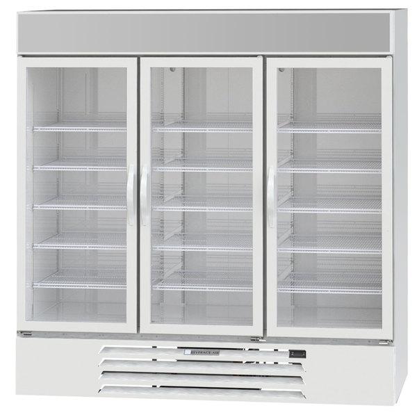 """Beverage-Air MMR72HC-1-WS MarketMax 75"""" White Glass Door Merchandiser Refrigerator with Stainless Steel Interior Main Image 1"""
