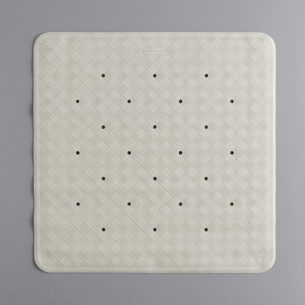 4 Square White Rubber Bath Mat