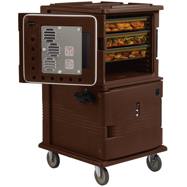 Cambro UPCHT1600131 Dark Brown Ultra Camcart Two Compartment Heated Holding Pan Carrier with Casters, Top Compartment Heated - 110V