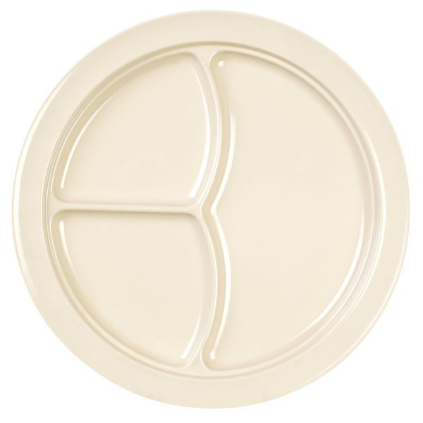 "Thunder Group NS702T Nustone Tan 10"" 3 Compartment Melamine Plate - 12/Pack"
