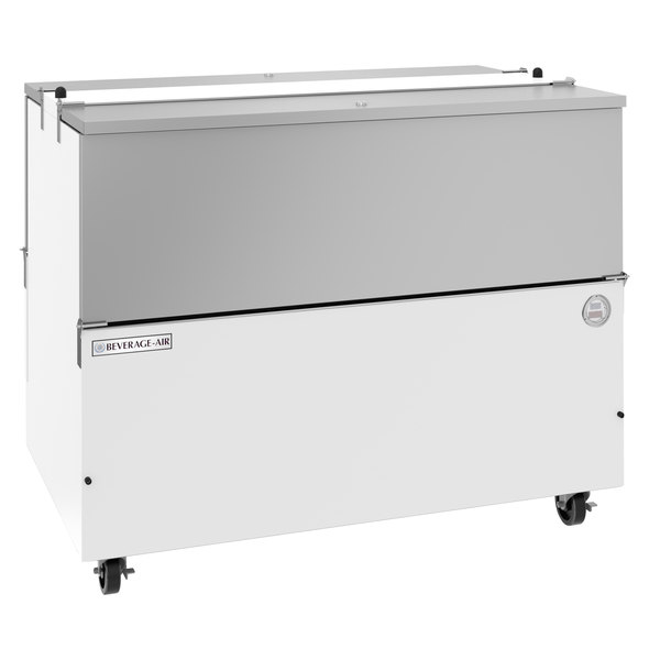 "Beverage-Air ST49HC-W-02 49"" White 2-Sided Cold Wall Milk Cooler with Stainless Steel Interior Main Image 1"