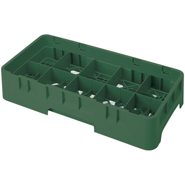 """Cambro 10HS800119 Sherwood Green Camrack 10 Compartment 8 1/2"""" Half Size Glass Rack"""