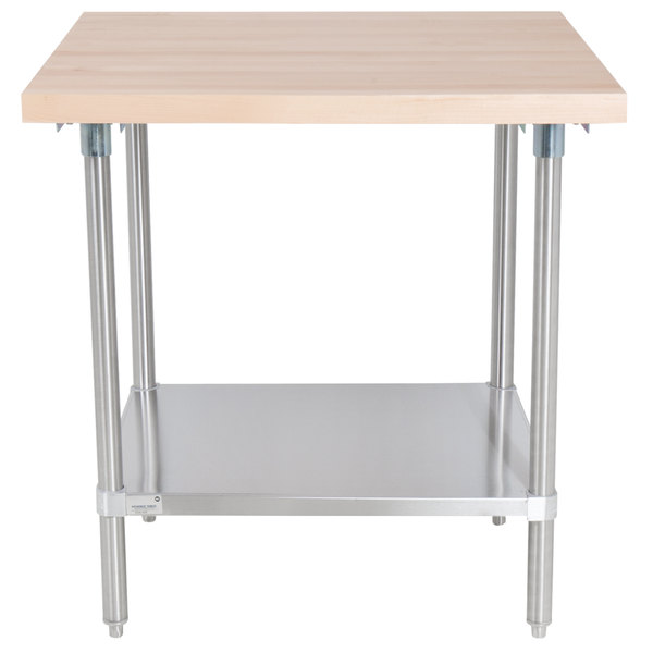 Wood Top Work Table With Stainless Steel Base And Undershelf Main Picture