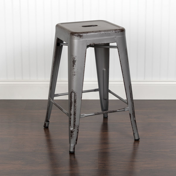 """Flash Furniture ET-BT3503-24-SIL-GG 24"""" Distressed Silver Stackable Metal Counter Height Stool with Drain Hole Seat Main Image 3"""