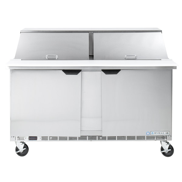 Beverage Air SPE60-24M 60 inch 2 Door Mega Top Refrigerated Sandwich Prep Table