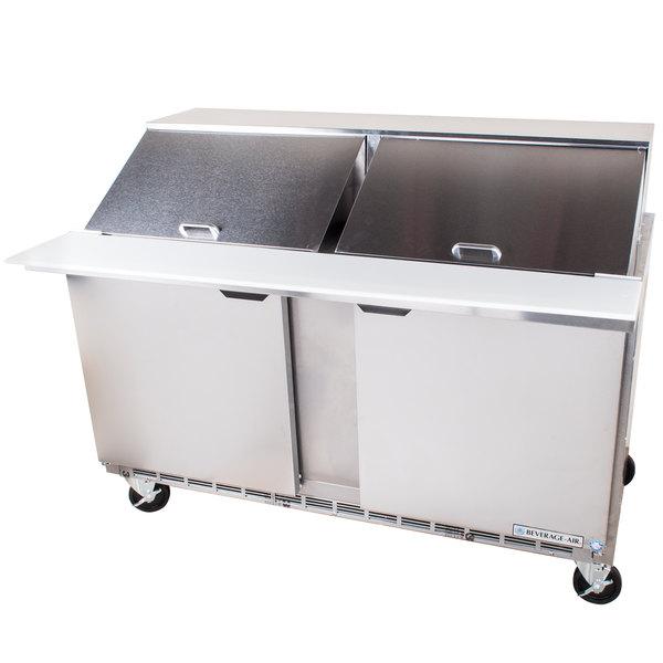 """Beverage Air SPE60-24M 60"""" 2 Door Mega Top Refrigerated Sandwich Prep Table"""