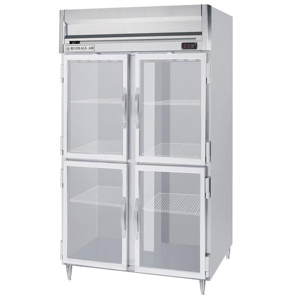 "Beverage-Air HFPS2HC-1HG Horizon Series 52"" Stainless Steel Glass Half Door Reach-In Freezer Main Image 1"