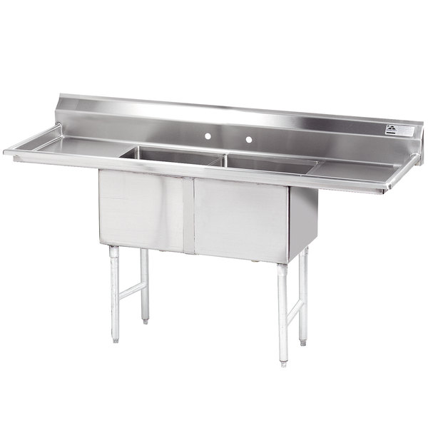 """Advance Tabco FC-2-1818-18RL Two Compartment Stainless Steel Commercial Sink with Two Drainboards - 72"""" with 18"""" X 24"""" Drainboard"""