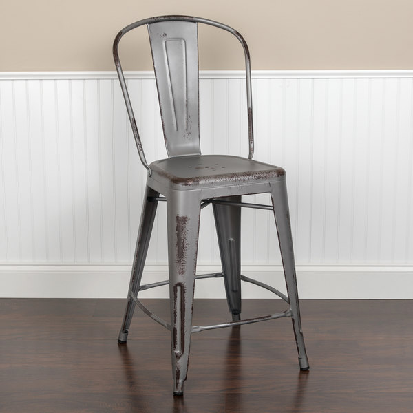 Swell Flash Furniture Et 3534 24 Sil Gg 24 Distressed Silver Metal Counter Height Stool With Vertical Slat Back And Drain Hole Seat Squirreltailoven Fun Painted Chair Ideas Images Squirreltailovenorg