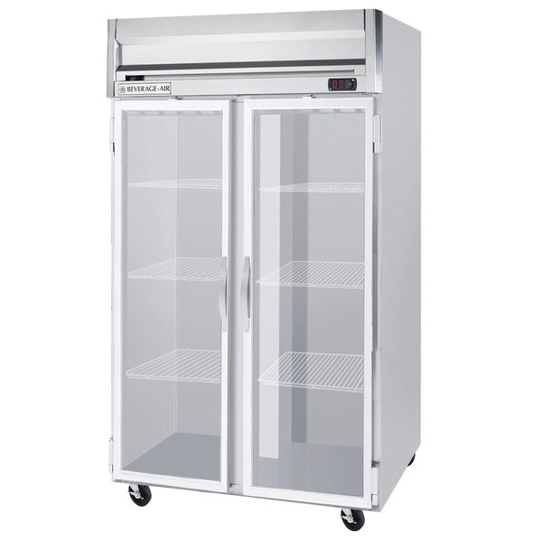 "Beverage-Air HF2HC-1G Horizon Series 52"" Top Mounted Glass Door Reach-In Freezer Main Image 1"